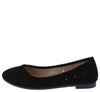 Fj022 Black Round Toe Laser Cut Ballet Flat - Wholesale Fashion Shoes