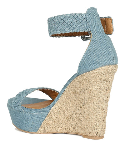 Flower17x Light Blue Open Toe Platform Espadrille Wedge - Wholesale Fashion Shoes