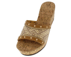 ABIGAIL TAN TRIBAL STUDDED CORK WEDGE - Wholesale Fashion Shoes