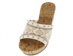 ABIGAIL WHITE TRIBAL STUDDED CORK WEDGE - Wholesale Fashion Shoes