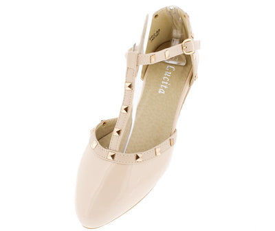 Fp288 Beige Pat Almond Toe T-strap D'orsay Stud Flat - Wholesale Fashion Shoes