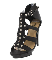 FRANCES18 BLACK STUDDED PEEP TOE HEEL - Wholesale Fashion Shoes