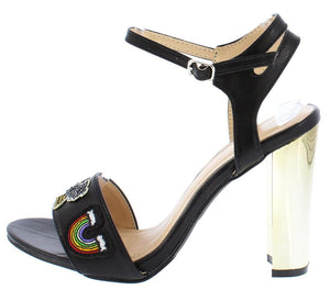 46470b6c9 Liv084 Black Rainbow Patch Gold Metallic Heel - Wholesale Fashion Shoes