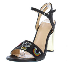 LIV084 BLACK RAINBOW PATCH GOLD METALLIC HEEL - Wholesale Fashion Shoes