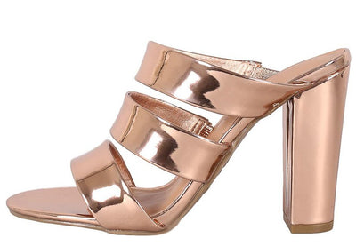 Frenzy27m Rose Gold Patent Open Toe Three Strap Mule Heel - Wholesale Fashion Shoes