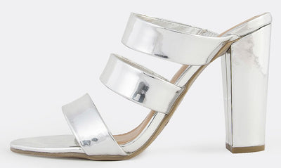Frenzy27m Silver Patent Patent Open Toe Three Strap Mule Heel - Wholesale Fashion Shoes