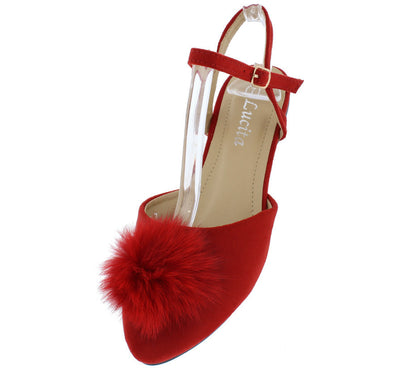 Ft010 Red Suede Furry Pom Pom Almond Toe Flat - Wholesale Fashion Shoes
