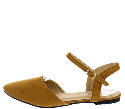 Ft011 Camel Suede Covered Almond Toe Ankle Strap Flat - Wholesale Fashion Shoes