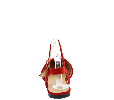 Ft011 Red Suede Covered Almond Toe Ankle Strap Flat - Wholesale Fashion Shoes