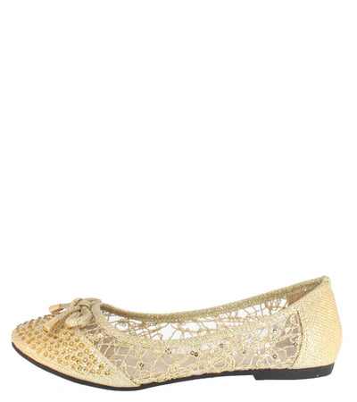 Fu29 Gold Glitter Sequin Mesh Flat - Wholesale Fashion Shoes