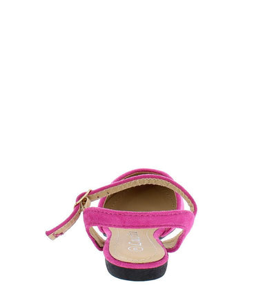 Fu110km Blush Suede Almond Toe Ankle Strap Kids Flat - Wholesale Fashion Shoes