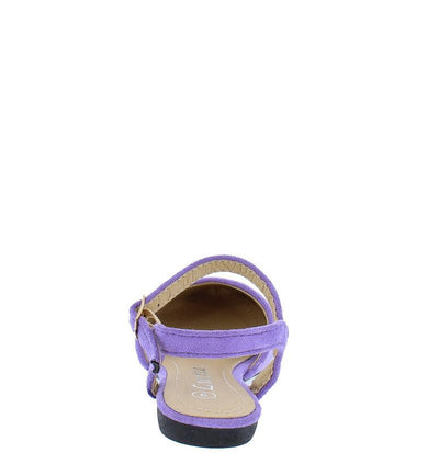 Fu110km Lilac Suede Almond Toe Ankle Strap Kids Flat - Wholesale Fashion Shoes