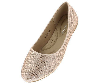 Adalyn233 Champagne Sparkle Embellished Ballet  Flat - Wholesale Fashion Shoes