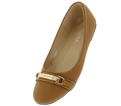 Fu1717 Camel Nubuck Rhinestone Gold Accent Bar Flat - Wholesale Fashion Shoes