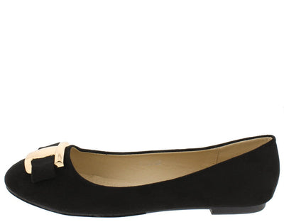 Fu2002 Black Round Toe Bow Gold Plate Accent Ballet Flat - Wholesale Fashion Shoes