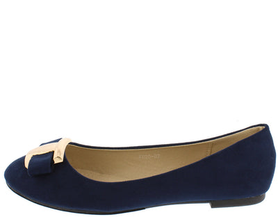 Fu2002 Navy Round Toe Bow Gold Plate Accent Ballet Flat - Wholesale Fashion Shoes