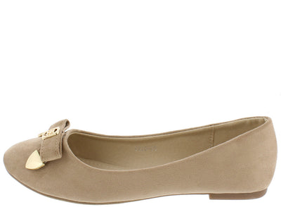 Fu2005 Khaki Bow Gold Accent Ballet Flat - Wholesale Fashion Shoes