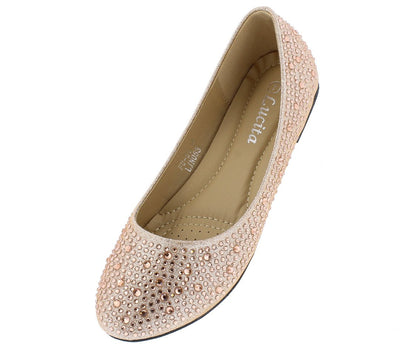 Addison146 Champagne Rhinestone Studded Ballet Flat - Wholesale Fashion Shoes