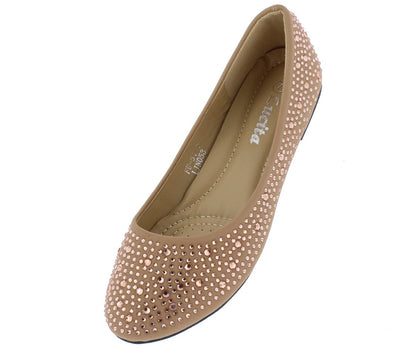 Addison146 Nude Nubuck Rhinestone Studded Ballet Flat - Wholesale Fashion Shoes
