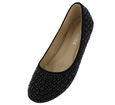Avery117 Black Nubuck Multi Rhinestone Studded Ballet Flat - Wholesale Fashion Shoes