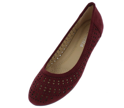 Anna161 Wine Suede Laser Cut Ballet Flat - Wholesale Fashion Shoes