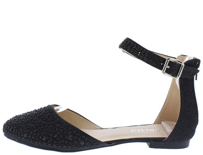 Victoria090 Black Glitter Round Toe Ankle Strap Flat - Wholesale Fashion Shoes