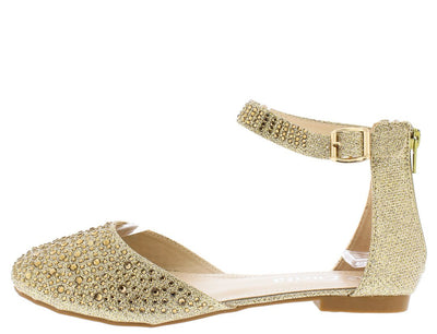 Victoria090 Gold Glitter Round Toe Ankle Strap Flat - Wholesale Fashion Shoes