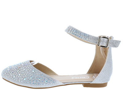 Victoria090 Silver Glitter Round Toe Ankle Strap Flat - Wholesale Fashion Shoes
