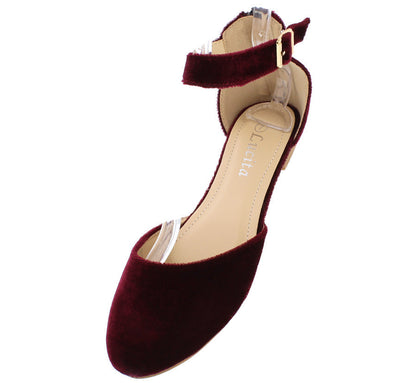 Fu918 Maroon Velvet Almond Toe Ankle Strap Flat - Wholesale Fashion Shoes