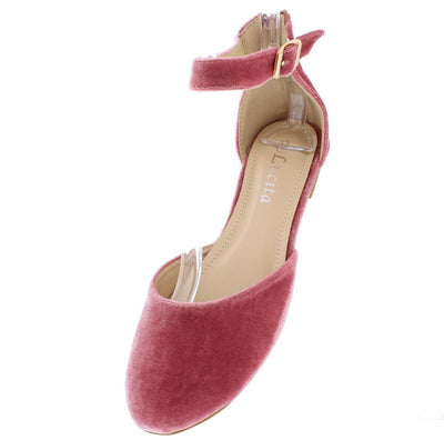 Fu918 Dark Pink Velvet Almond Toe Ankle Strap Flat - Wholesale Fashion Shoes