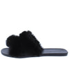Fullmoon15 Black Fur Dual Strap Mule Slide Flat Sandal - Wholesale Fashion Shoes