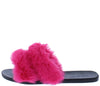 Fullmoon15 Hot Pink Fur Dual Strap Mule Slide Flat Sandal - Wholesale Fashion Shoes