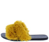 Fullmoon15 Mango Fur Dual Strap Mule Slide Flat Sandal - Wholesale Fashion Shoes