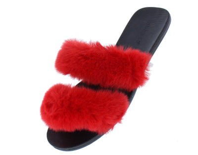 Fullmoon15 Red Fur Dual Strap Mule Slide Flat Sandal - Wholesale Fashion Shoes