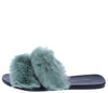 Fullmoon15 Sage Fur Dual Strap Mule Slide Flat Sandal - Wholesale Fashion Shoes
