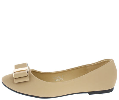 Fuu007 Beige Nubuck Metallic Wide Stacked Bow Ballet Flat - Wholesale Fashion Shoes