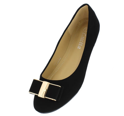 Fuu007 Black Nubuck Metallic Wide Stacked Bow Ballet Flat - Wholesale Fashion Shoes