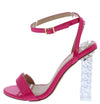 Fabiola2 Fuchsia Open Toe Ankle Strap Braided Lucite Heel - Wholesale Fashion Shoes