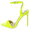 Fahida Neon Crocodile Pointed Open Toe Ankle Strap Stiletto Heel - Wholesale Fashion Shoes