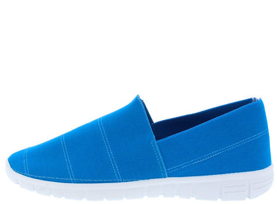 Fairy21 Blue Slip on Stitched Stretch Fabric Flat - Wholesale Fashion Shoes
