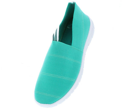 Fairy21 Turquoise Slip on Stitched Stretch Fabric Flat - Wholesale Fashion Shoes