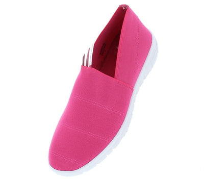 Fairy21 Fuchsia Slip on Stitched Stretch Fabric Flat - Wholesale Fashion Shoes