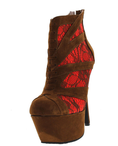 Fanciful Chestnut Lace High Heeled Boot - Wholesale Fashion Shoes
