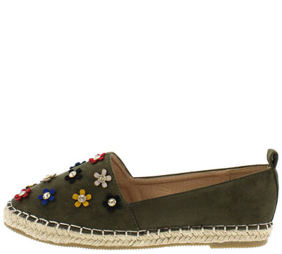 Fancy08 Olive Green 3d Flower Braid Hemp Espadrille Flat - Wholesale Fashion Shoes