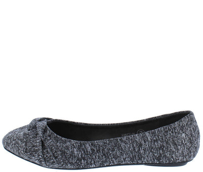 Fancy08 Charcoal Heathered Cross Gather Ballet Flat - Wholesale Fashion Shoes