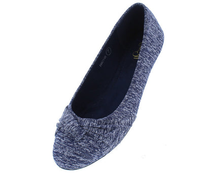 Fancy08 Navy Heathered Cross Gather Ballet Flat - Wholesale Fashion Shoes