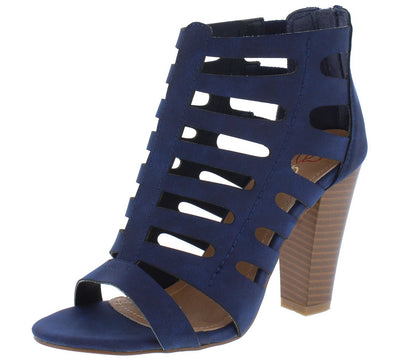 Fanni1 Navy Caged Open Toe Rear Zip Angled Heel - Wholesale Fashion Shoes