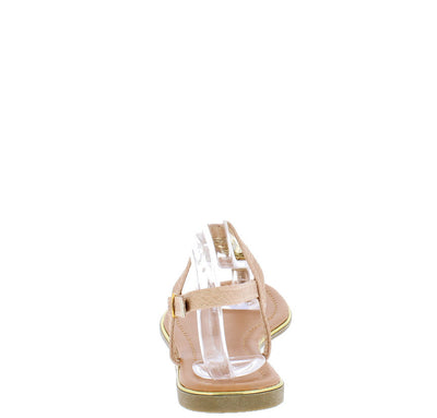 Fantasy Nude Gold Metal Sling Back Thong Sandal - Wholesale Fashion Shoes