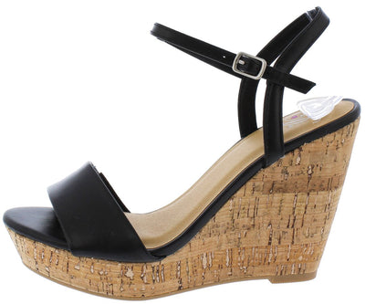 Fantasy Black Open Toe Slingback Ankle Strap Cork Wedge - Wholesale Fashion Shoes