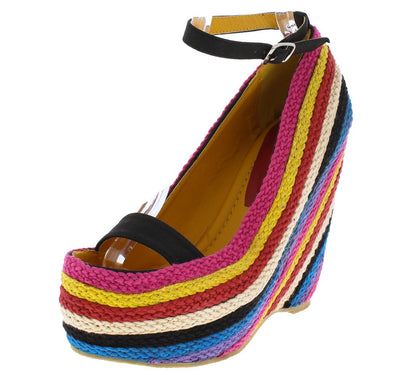 Fargo01 Black Pu Braided Rainbow Open Toe Ankle Strap Wedge - Wholesale Fashion Shoes
